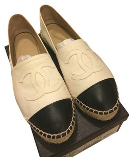 Chanel Espadrilles Lambskin Captoe Leather Casual White/black Flats