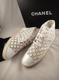 Chanel 15c Lace Mesh White Flats
