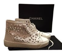 Chanel Cc Leather Lace Up High Top Sneakers Laser Cut White Boots
