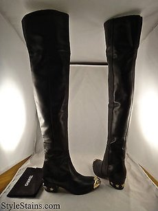 Chanel 14a Thigh High Black Boots