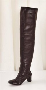 Chanel Womens Brown Leather Patent Trim Tall Boots
