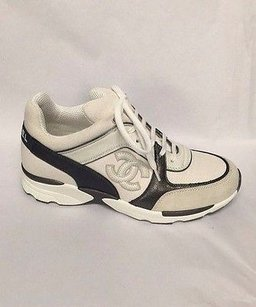 Chanel 2015 Leather Sneakers Tennis Trainers White Athletic