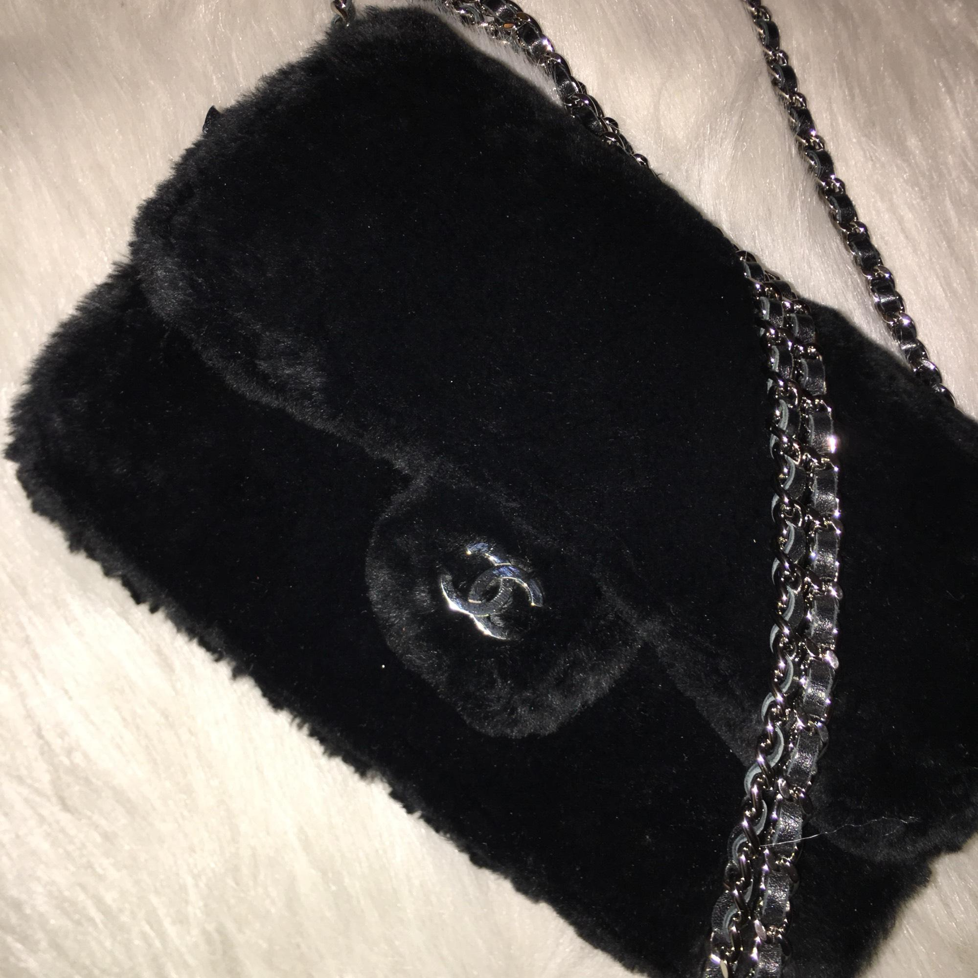 Chanel Fur Wallet On Chain Black Silver Hardware