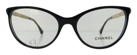 Chanel Eyeglass Frames With Rhinestones : Chanel Gently Used Eyeglasses 3303-B c. 501 Black Acetate ...