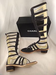 Chanel 15s Grey Suede Leather Gray Sandals
