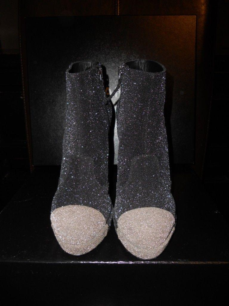 chanel glitter boots. chanel glitter platform two-tone black/grey boots