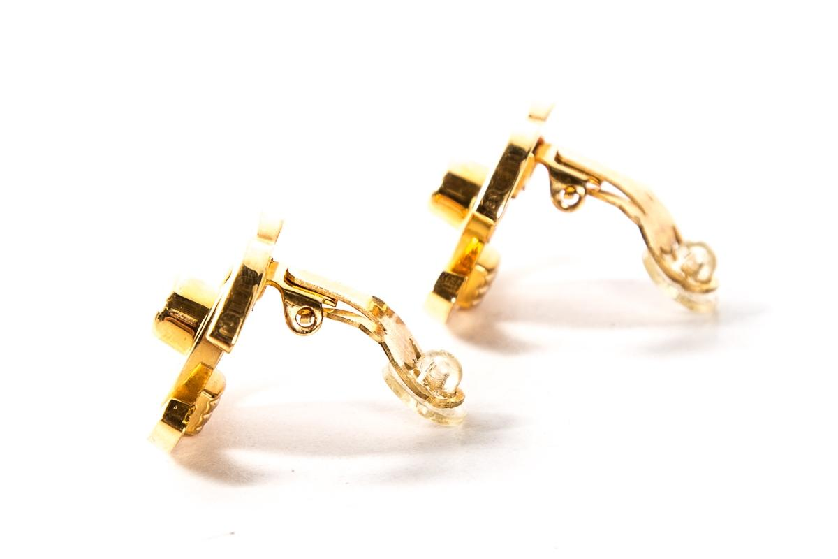 chanel gold gold tone cc turnlock clip on earrings tradesy