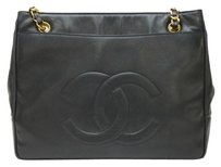 Chanel Handbag Handbag Logo Calfskin Tote in Black