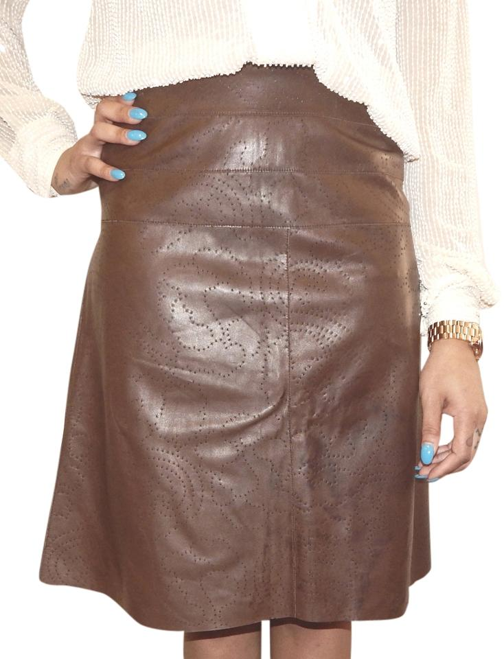 chanel brown lambskin leather perforated hi lo knee length