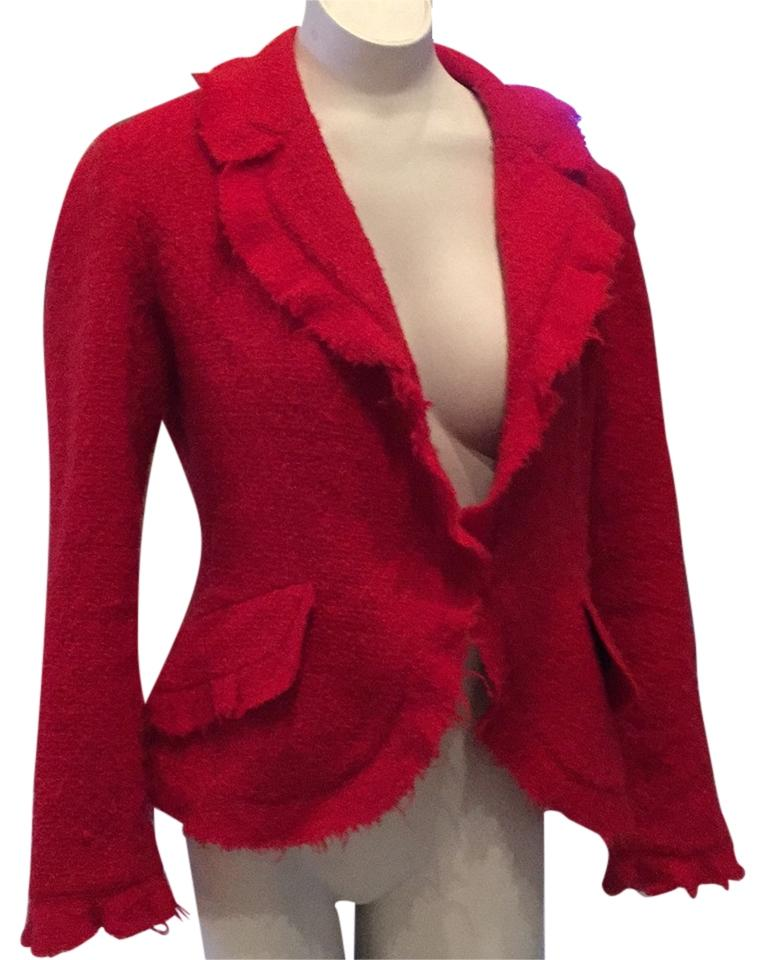 CHANEL inspired red wool jacket.  Perfect with jeans or dressed up with leather--Be red hot for Valentine's Day!