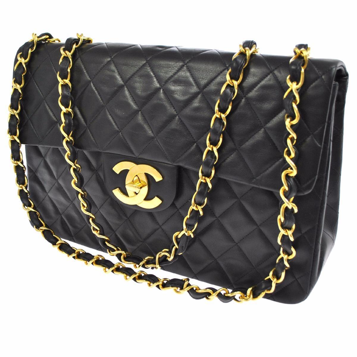 Chanel Jewelry Box Black Lambskin Leather WeekendTravel Bag Tradesy