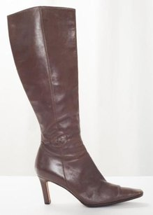 Chanel Womens Leather Cc Logo High Heel Pump Brown Boots
