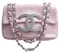 Chanel Leather Silver Hardware Chain Braided Cross Body Bag