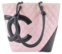 Chanel Ligne Cambon Leather Tote in Pink & Black