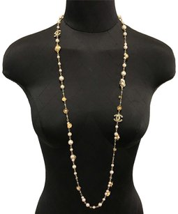 Chanel Chanel Long CC Pearl Camelia Necklace