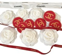 Chanel Lots of 7 Chanel fabric camellia Flower + Ribbon and Shopping tote gift bag