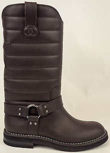 Chanel 14a Quilted Star Motorcycle Biker Eu38 Dark Brown Boots