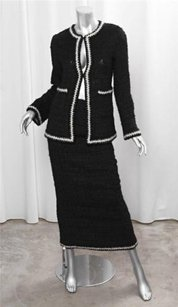 Chanel Chanel Fall 98 Vintage Black White Boucle Long Skirt Suit Outfit Sz.36