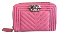 Chanel Pink le Boy Zip Around Card Coin Wallet Purse