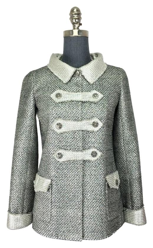chanel tweed jacket. chanel polyester nylon military jacket tweed