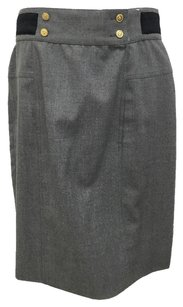 Chanel Quilted Satin Wool Classic Skirt Grey