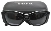Chanel RARE AUTHENTIC CHANEL CC LOGOS QUILTED SUNGLASSES BLACK LEATHER VINTAGE JT02059