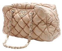 Chanel Bubble Quilted Lambskin Bowler Satchel in Beige
