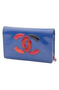 Chanel Blue Patent Leather Satchel in Blue, pink, red, orange