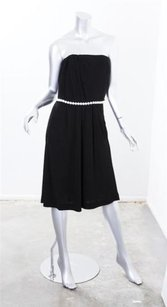 Chanel short dress Black Womens Strapless Pearl Belt Belted Stretch on Tradesy