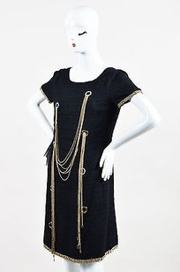 Chanel short dress Blue Navy Gold Tone Silk on Tradesy