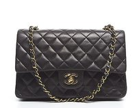 Chanel Black Lambskin Double Flap Shoulder Bag