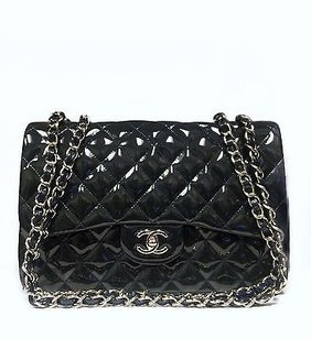 Chanel Navy Patent Jumbo Shoulder Bag