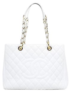 Chanel White Caviar Grand Shopping Tote Gst Shw Shoulder Bag