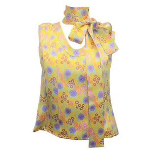 Chanel Silk Logo Print Buttons Top yellow