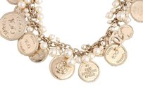 Chanel **sold on aff** Silver Coins & Pearls Necklace