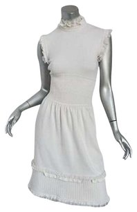 Chanel Cream Cashmere Knit Sleeveless Ruffled Waist Dress