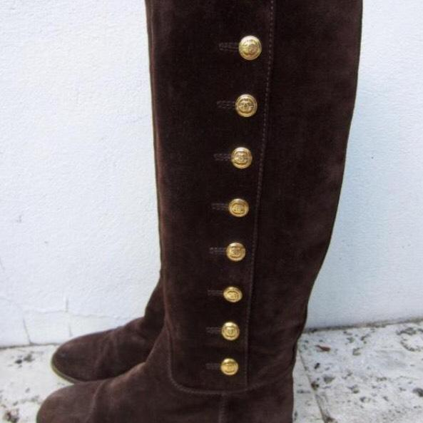 Chanel suede gold cc logo tall boots