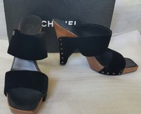 Chanel Suede Sandals black Mules
