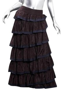 Chanel Maroonnavy Silk Long Full Floor Length Classic Tiered Ruffled Skirt Purple