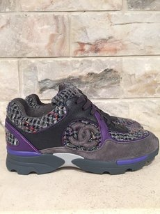 Chanel Trainer Cc Logo Tweed Leather purple Athletic