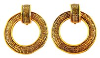 Chanel Vintage CC Logos Hoop Gold-Tone Clip-On Earrings 2540