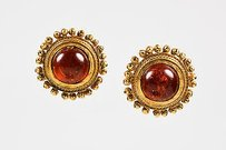 Chanel Vintage Chanel Red Gold Tone Gripoix Stone Clip On Earrings