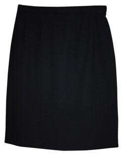 Chanel Vintage Classic Exclusive Skirt Black Wool Gab/Crepe