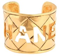 Chanel Vintage Gold Cut Out Cuff Bracelet