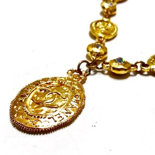 Chanel Vintage Gold Plated Swarovski CC Medallion Necklace