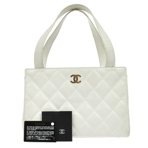 Chanel Vintage Quilted Cc Logos Tote in White Gold
