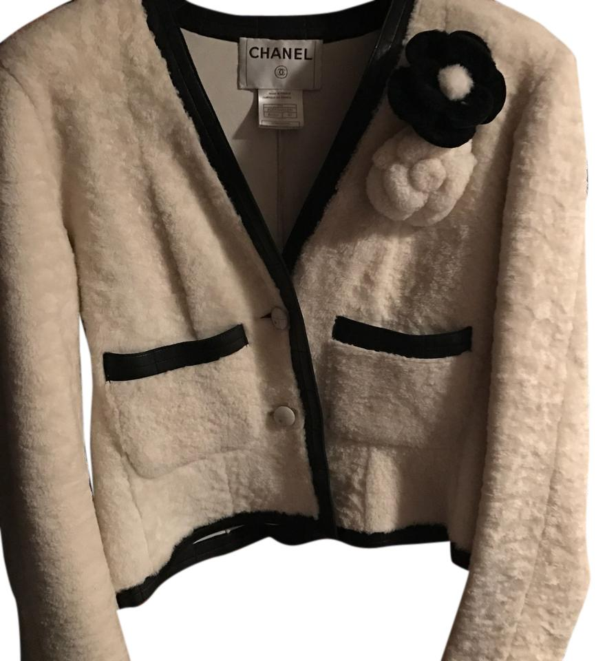Chanel Vintage White Shearling and Black Leather Trim Blazer with Flower Pins