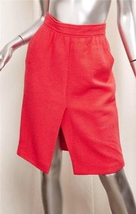 Chanel Vintage Wool A Skirt Red