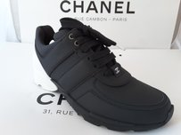 Chanel White Leather Sneakers Black Athletic