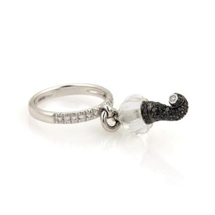 Chantecler Chantecler Capri Diamond Clear Quartz 18k Gold Drop Charm Ring - 6.75